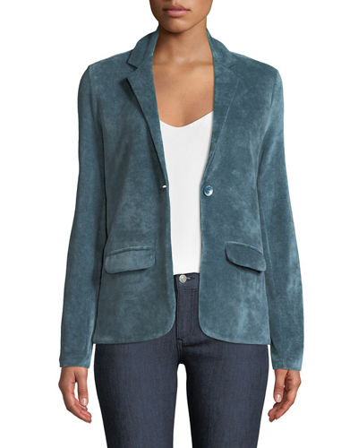 Single-Breasted Velour Blazer Jacket