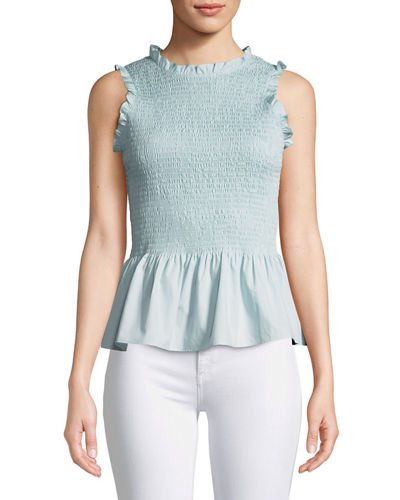 Lorraine Smocked Sleeveless Ruffle Top