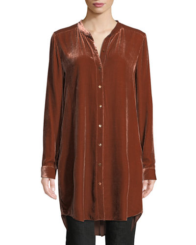 Petite Long Washable Velvet Tunic Top