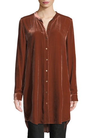 Eileen Fisher Plus Size Long Washable Velvet Tunic Top