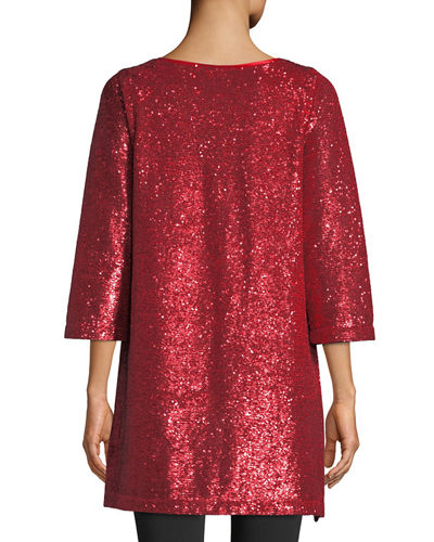 Easy 3/4-Sleeve Sequin Tunic, Plus Size