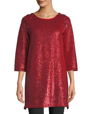 Joan Vass Easy 3/4-Sleeve Sequin Tunic and Matching