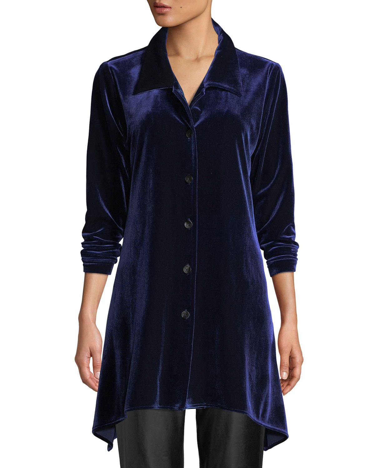Button-Front Long-Sleeve Stretch-Velvet Side-Fall Shirt, Petite