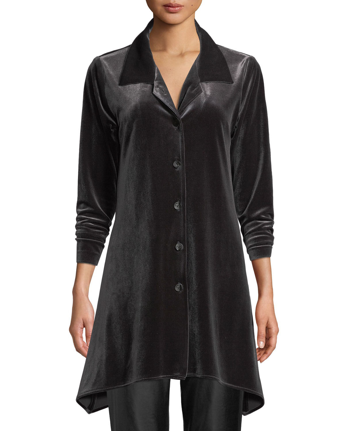 Button-Front Long-Sleeve Stretch-Velvet Side-Fall Shirt