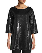 Joan Vass Petite Easy 3/4-Sleeve Sequin Tunic