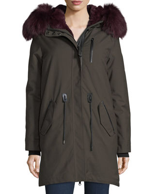 Mackage Rena-WX Zip-Front Parka Jacket w/ Fox Fur
