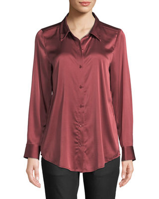 Long-Sleeve Silk Charmeuse Button-Front Shirt, Plus Size in Monterey