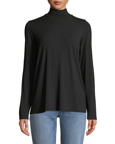 Eileen Fisher Mock-Neck Viscose Jersey Top and Matching