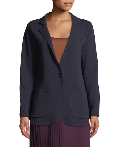Washable Wool Crepe Blazer Jacket, Plus Size