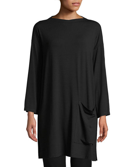 Eileen Fisher Cottons PLUS SIZE BATEAU-NECK JERSEY TUNIC