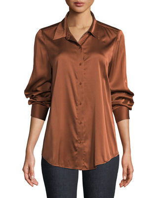 Eileen Fisher Long-Sleeve Silk Charmeuse Button-Front Shirt,