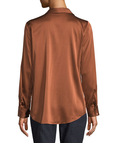 Plus Size Long-Sleeve Silk Charmeuse Button-Front Shirt