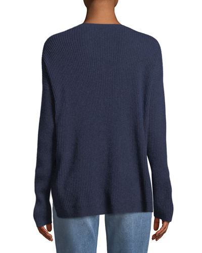 Ribbed Long-Sleeve Cashmere Sweater, Petite
