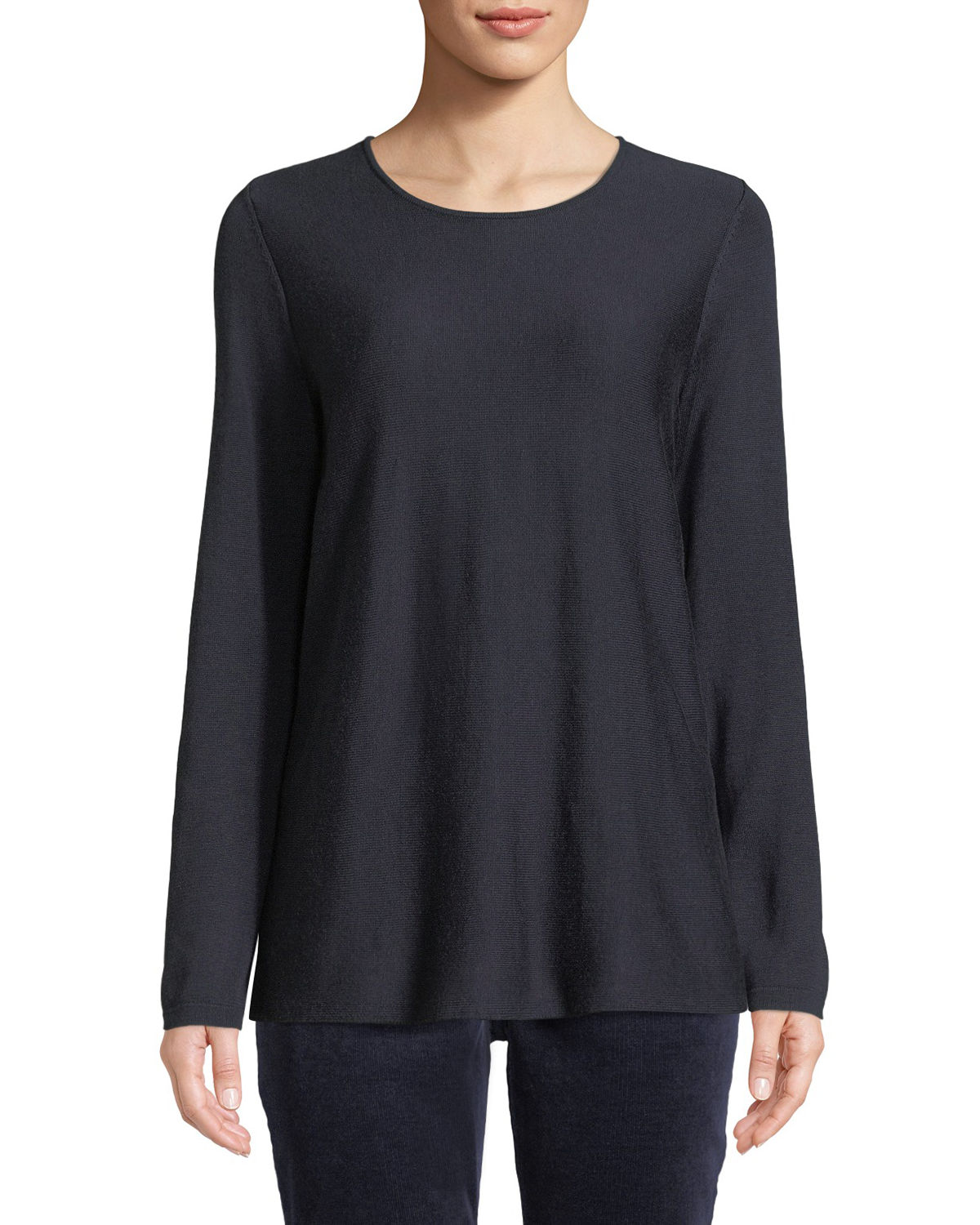 4d2fd76ce13 Clothing. New Arrival. EILEEN FISHER TENCEL REG  SILK ROUND-NECK SWEATER