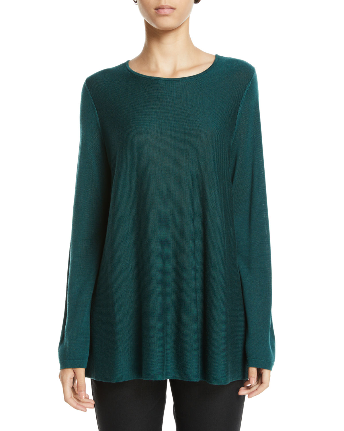 Tencel®/Silk Round-Neck Sweater, Plus Size