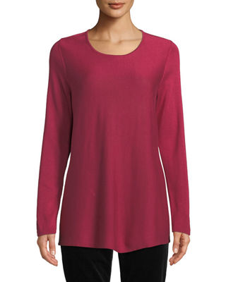Eileen Fisher Tencel??/Silk Round-Neck Sweater, Plus Size and