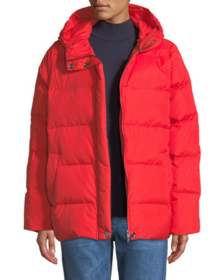 Eileen Fisher Quilted Nylon Hooded Down Puffer Coat