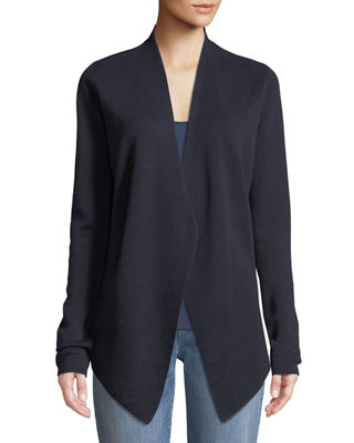 Angle-Front Silky Tencel Cardigan, Plus Size, Midnight