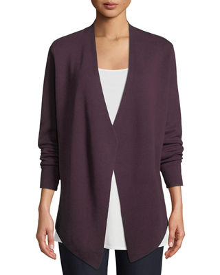 ANGLE-FRONT SILKY TENCEL CARDIGAN, PLUS SIZE