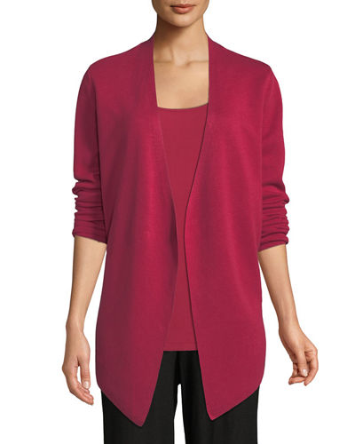 Plus Size Angle-Front Silky Tencel Cardigan