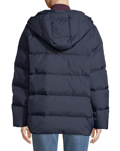 Quilted Nylon Hooded Coat, Petite