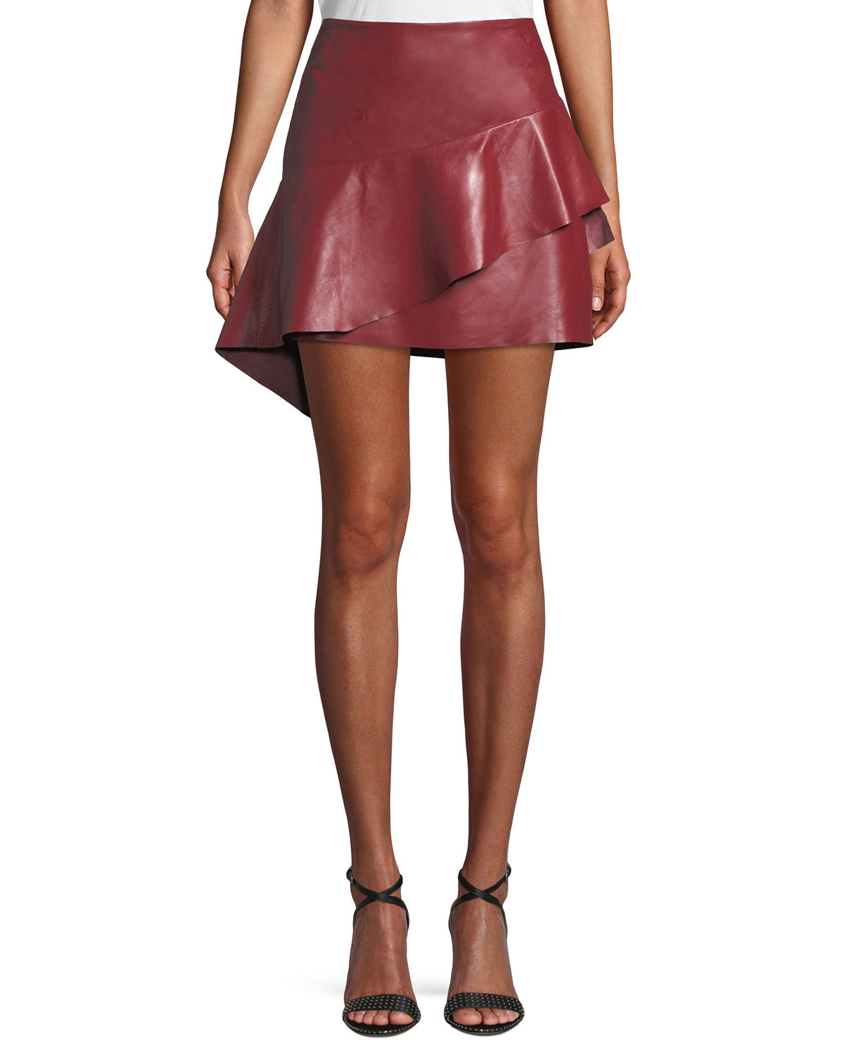 Botan Draped Ruffle Leather Mini Skirt