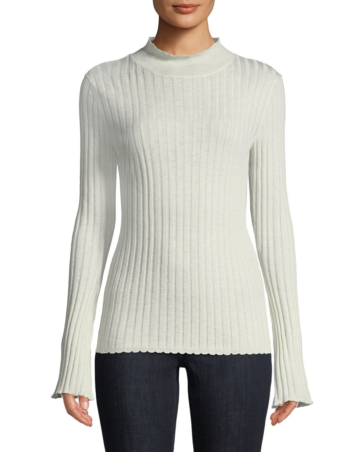 Gestina Ribbed Mock-Neck Sweater