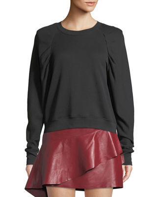 Joie Korbyn Puff-Sleeve Cotton Crewneck Pullover Sweater and