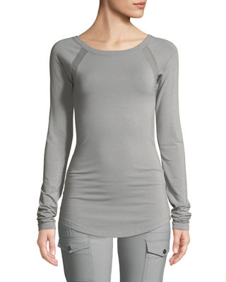 Anatomie Alfi Long-Sleeve Top w/ Mesh Insets and
