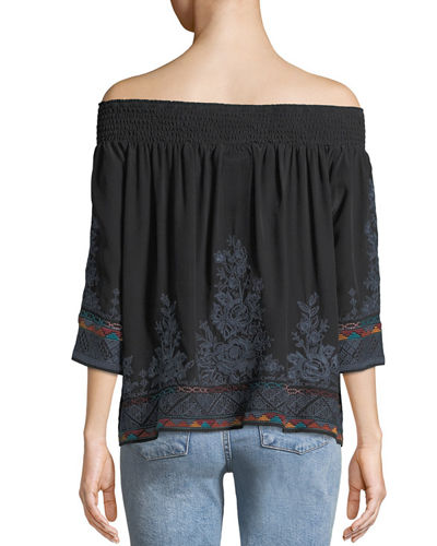 Tahndi Off-the-Shoulder Embroidered Silk Top