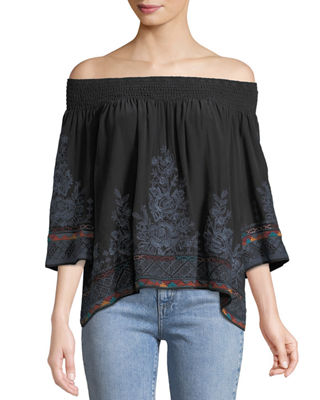 Johnny Was Tahndi Off-the-Shoulder Embroidered Silk Top