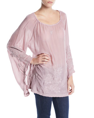 Johnny Was Fay Embroidered Flare-Sleeve Top and Matching