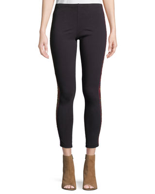 Johnny Was Marjan Stretch Cotton Leggings w/ Embroidery,