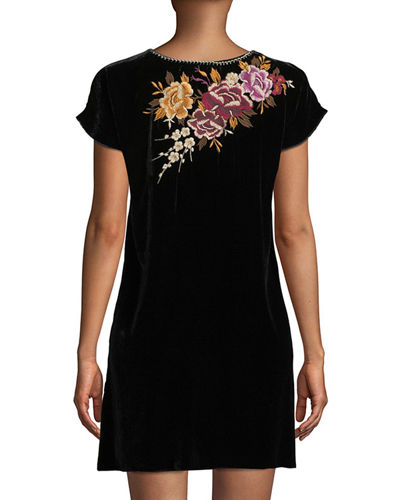 Zosia Embroidered Velvet Tunic Dress