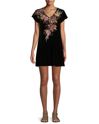 Johnny Was Zosia Embroidered Velvet Tunic Dress, Plus