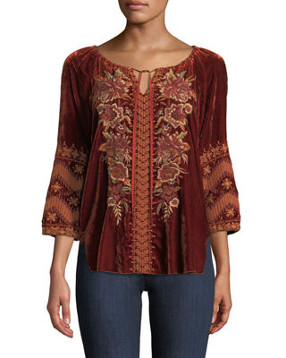 Johnny Was Elim Velvet Peasant Blouse, Plus Size
