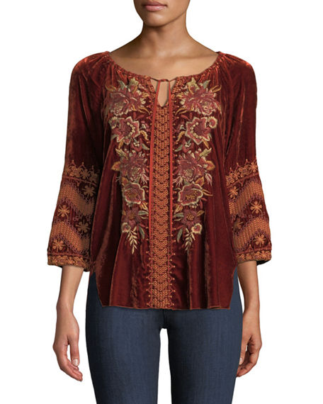 Johnny Was Plus Size Elim Velvet Peasant Blouse
