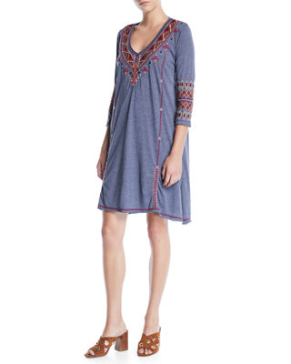 Johnny Was Marjan 3/4-Sleeve Embroidered Tunic Dress