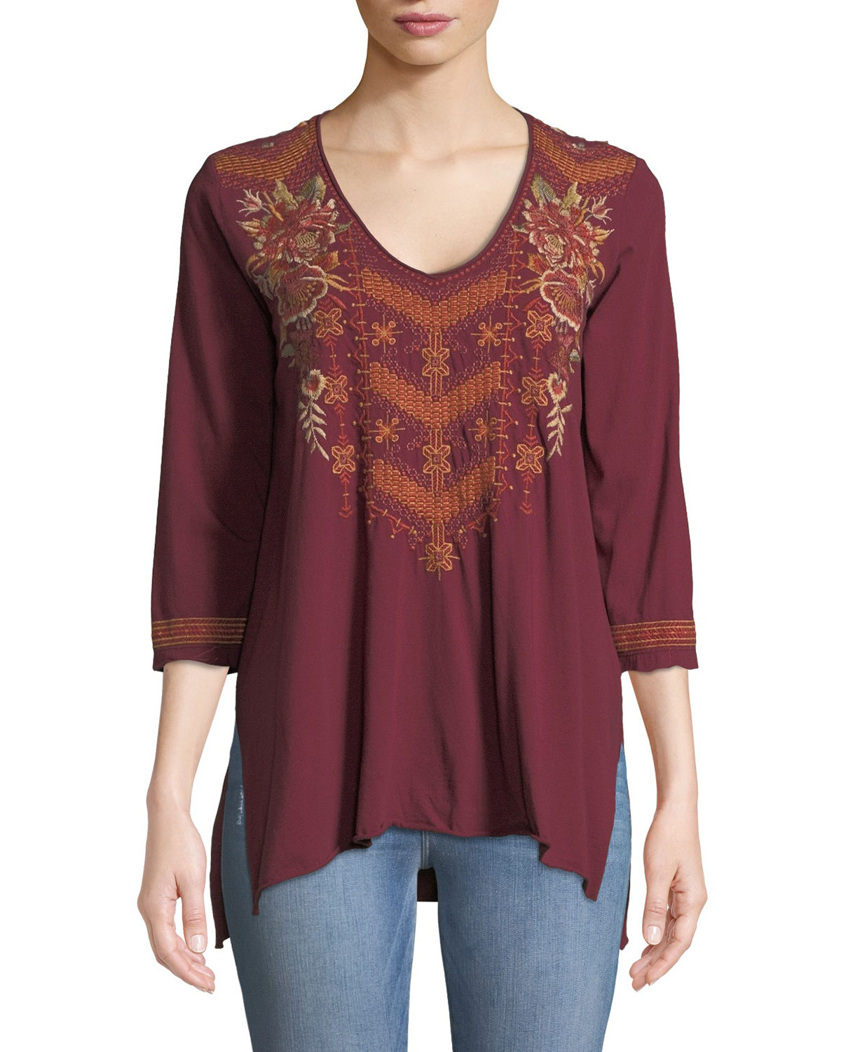 Ellim 3/4-Sleeve Embroidered Drape Knit Top