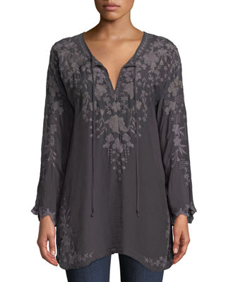 Johnny Was Butterfly Winter Rayon Tie-Neck Tunic, Plus