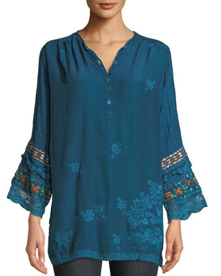 Johnny Was Fayan Patchwork-Sleeve Georgette Tunic and Matching