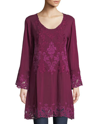 Johnny Was Robin Long Embroidered Georgette Tunic, Plus