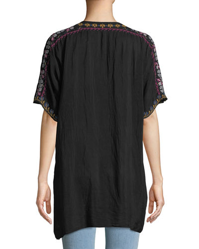 Alyssa Floral-Embroidered Long Georgette Tunic