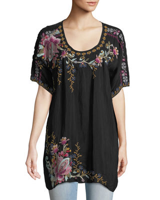 Johnny Was Alyssa Floral-Embroidered Long Georgette Tunic