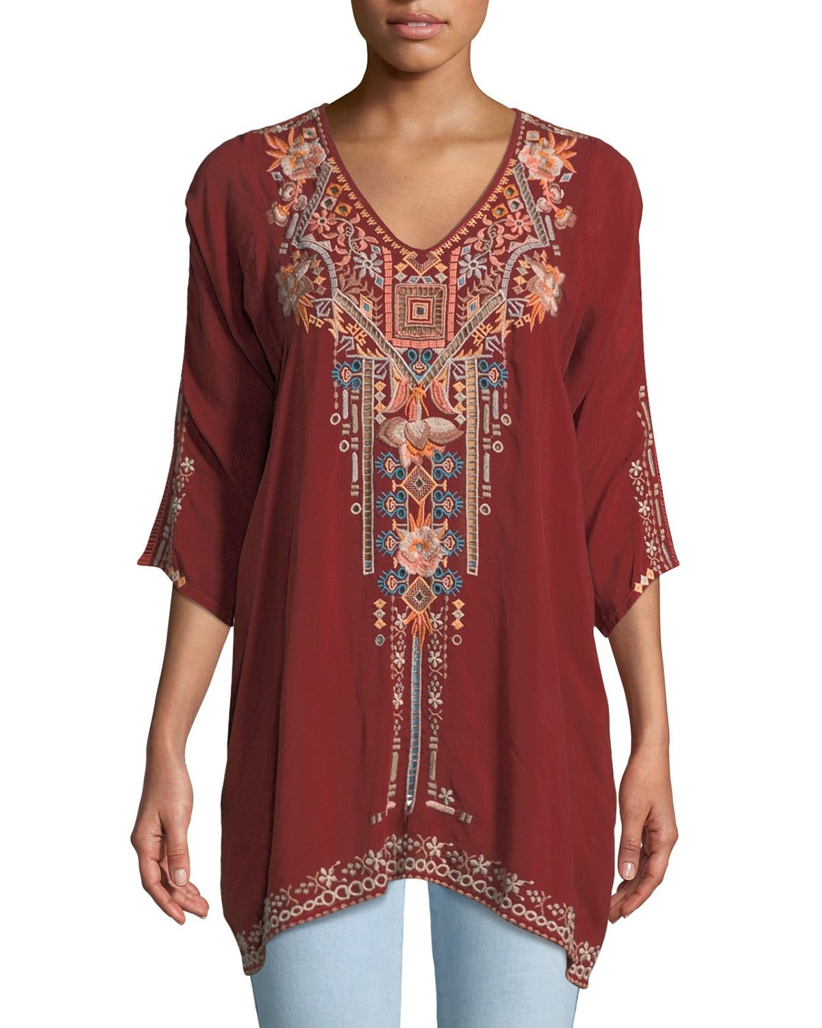 Mikaela 3/4-Sleeve Embroidered Tunic