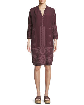 Johnny Was McCalli Embroidered Georgette Tunic w/ Slip,