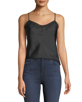Johnny Was Lace-Trim Silk Camisole Tank and Matching