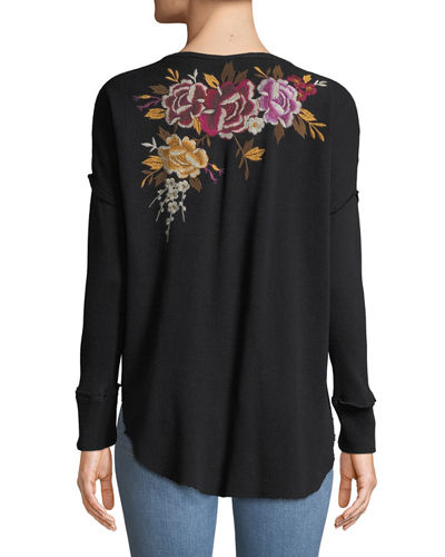 Plus Size Zosia Floral-Embroidered Thermal Top
