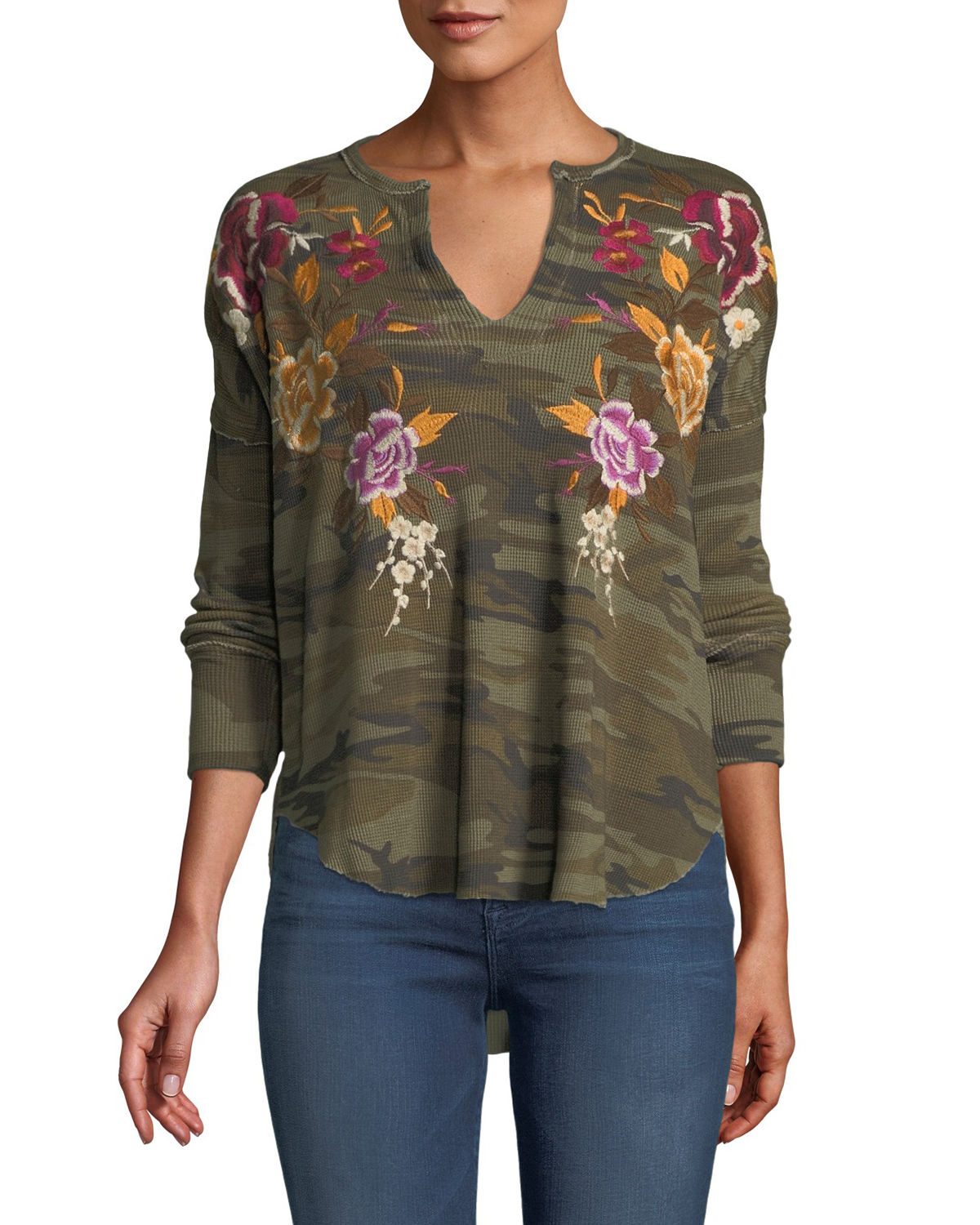 Zosia Floral-Embroidered Thermal Top, Plus Size