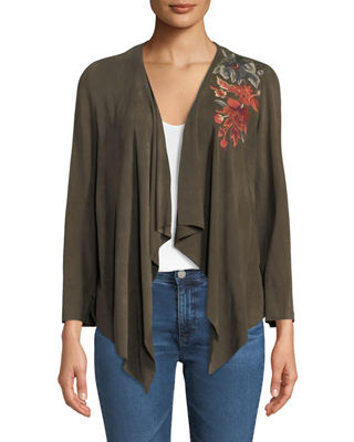Johnny Was Ferris Embroidered Suede Draped Jacket